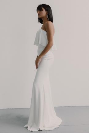 Біле плаття-бюстьє з воланом на грудях в прокат и oренду в Киiвi. Фото 2