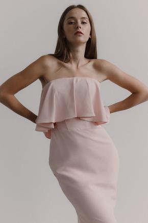 Рожеве трикотажне плаття-бюстьє з воланом в прокат и oренду в Киiвi. Фото 2