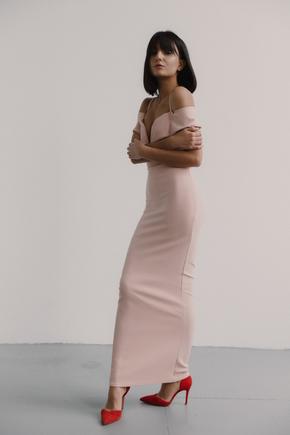 Пудрово-рожеве плаття-бюстьє в підлогу з щільної тканини в прокат и oренду в Киiвi. Фото 2