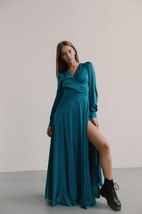 Бірюзове плаття підлогу на запах з шовку з довгим рукавом в прокат и oренду в Киiвi. Фото 1