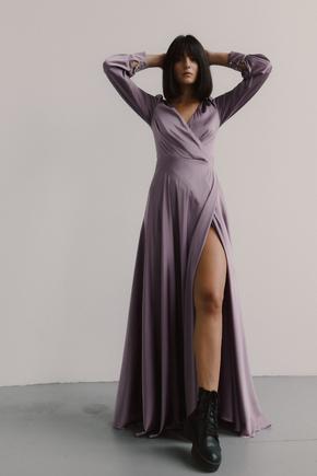 Довга сукня кольору курний кедр з шовку на запах в прокат и oренду в Киiвi. Фото 2