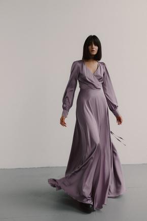 Довга сукня кольору курний кедр з шовку на запах в прокат и oренду в Киiвi. Фото 1