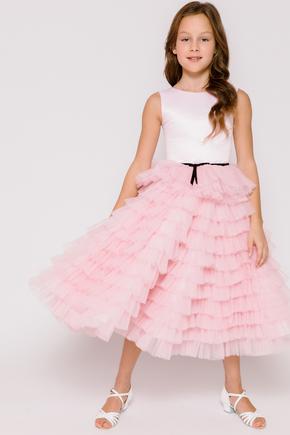 Дитяче плаття в підлогу з чорним поясом драпіровками рожевого кольору в прокат и oренду в Киiвi. Фото 1