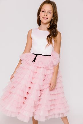 Дитяче плаття в підлогу з чорним поясом драпіровками рожевого кольору в прокат и oренду в Киiвi. Фото 2