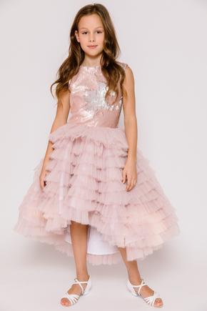 Дитяче плаття з розшитим топом рожевого кольору і драпіровками в прокат и oренду в Киiвi. Фото 1