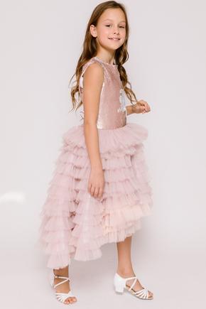Дитяче плаття з розшитим топом рожевого кольору і драпіровками в прокат и oренду в Киiвi. Фото 2