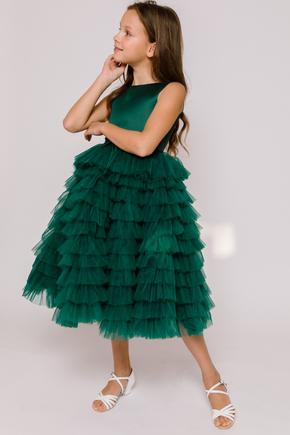 Детское платье в пол с многослойными драпировками зеленого цвета в прокат и аренду в Киеве. Фото 1