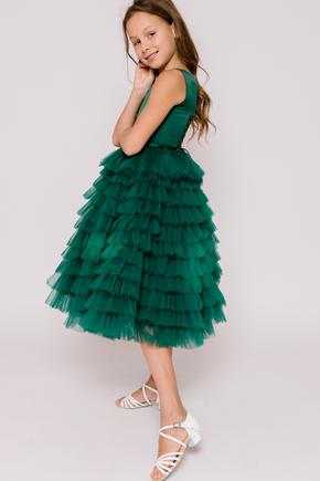 Детское платье в пол с многослойными драпировками зеленого цвета в прокат и аренду в Киеве. Фото 2