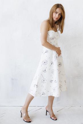 Біле плаття-бюстьє довжини міді з чорними кольорами в прокат и oренду в Киiвi. Фото 2