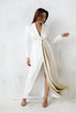Белое длинное платье-фрак с декоративными драпировками в прокат и аренду в Киеве. Фото 3