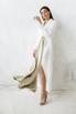 Белое длинное платье-фрак с декоративными драпировками в прокат и аренду в Киеве. Фото 1