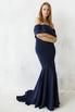 Платье бюстье со шлейфом синего цвета в прокат и аренду в Киеве. Фото 1