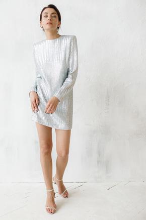 Сукня міні вільного крою з довгим рукавом в срібну матову пайетку в прокат и oренду в Киiвi. Фото 1