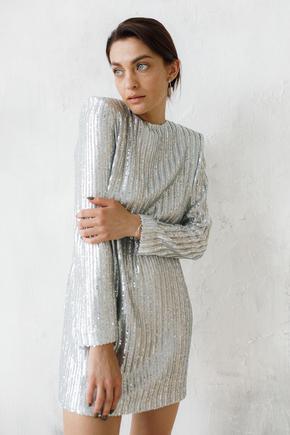 Сукня міні вільного крою з довгим рукавом в срібну матову пайетку в прокат и oренду в Киiвi. Фото 2