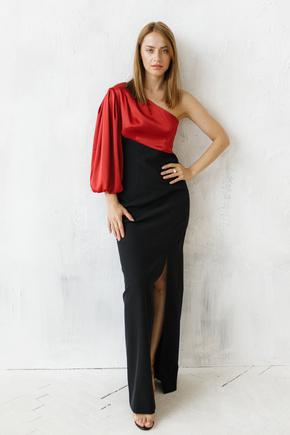 Комбінована вечірня сукня з шовковим асиметричним верхом в прокат и oренду в Киiвi. Фото 1