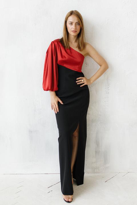 Комбинированное вечернее платье с шелковым ассиметричным верхом