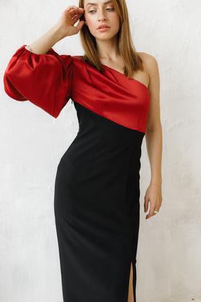 Комбінована вечірня сукня з шовковим асиметричним верхом в прокат и oренду в Киiвi. Фото 2