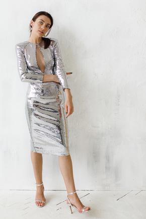 Сукня міді з срібних паєток з глибоким декольте з сітки в прокат и oренду в Киiвi. Фото 2