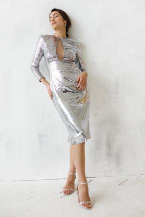 Сукня міді з срібних паєток з глибоким декольте з сітки в прокат и oренду в Киiвi. Фото 1