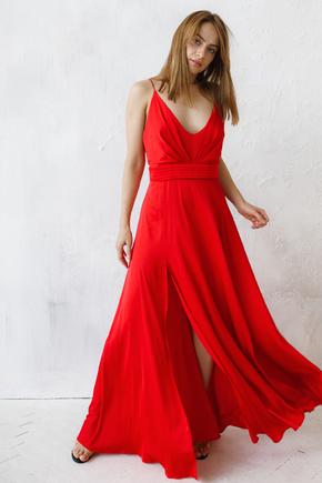 Червоне шовкове плаття в підлогу з розрізом в прокат и oренду в Киiвi. Фото 2