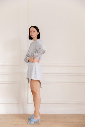 Сукня міні блакитного кольору з принтом і кистями в прокат и oренду в Киiвi. Фото 1