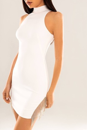 Біла сукня довжини міні з бахромою з каменів в прокат и oренду в Киiвi. Фото 1