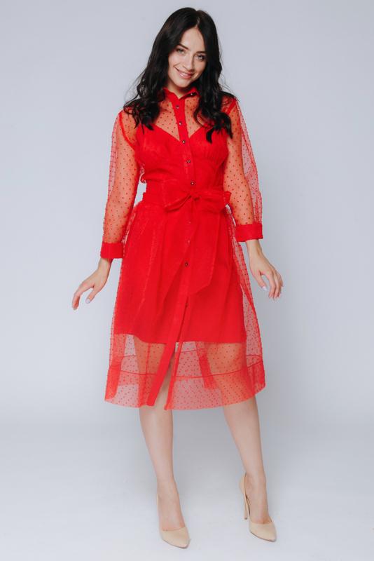 Красное комбинированное платье в горох с поясом в прокат и аренду в Киеве, Одессе, Харькове. Фото 2