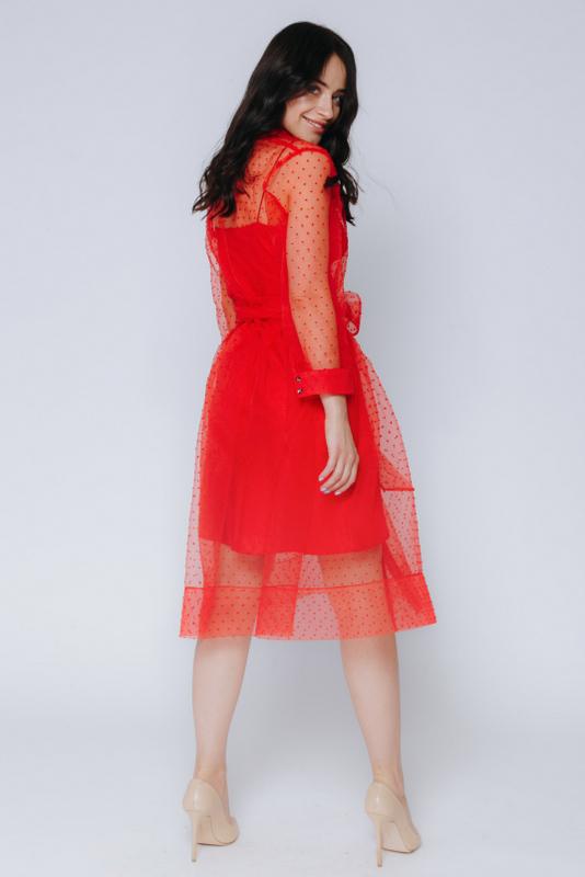 Красное комбинированное платье в горох с поясом в прокат и аренду в Киеве, Одессе, Харькове. Фото 3