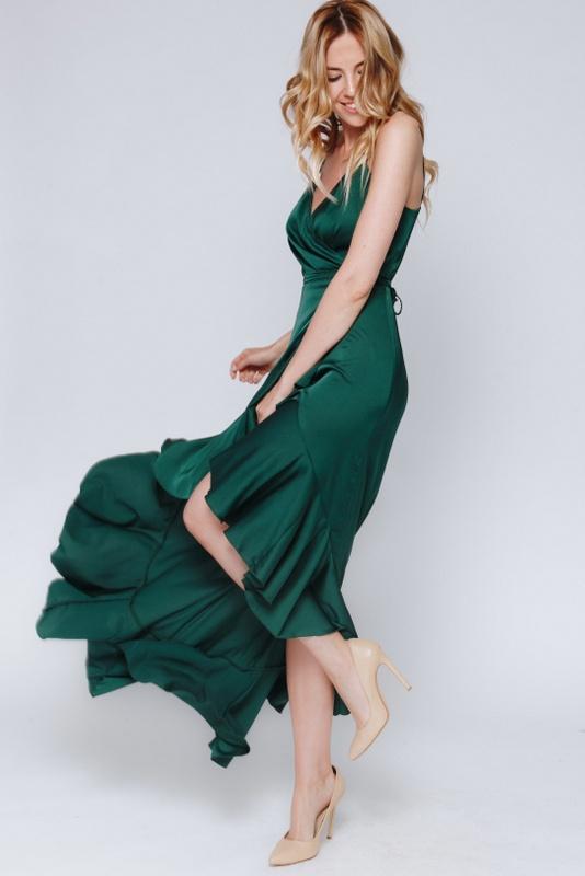 Темно- зеленое платье с переменной длиной на запах в прокат и аренду в Киеве, Одессе, Харькове. Фото 3