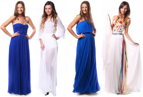 Греческое платье синие