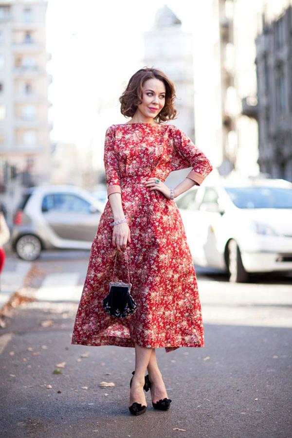 Пышное платье по щиколотку